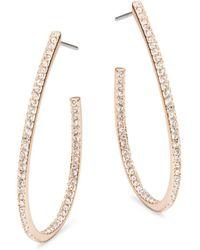 Nadri - Rose Goldtone Pave J Hoop Earrings - Lyst