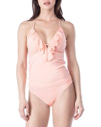 Kenneth Cole Reaction - Ready To Ruffle Push-up Tankini Top - Lyst