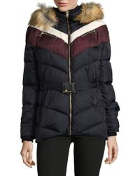 Vince Camuto - Chevron Faux Fur Down Fill Coat - Lyst