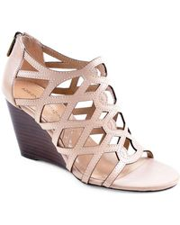 Adrienne Vittadini - Alby Leather Caged Wedge Sandals - Lyst