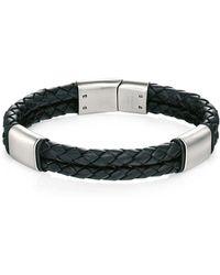 Fred Bennett - Plaited Leather & Brushed Stainless Steel Bracelet - Lyst