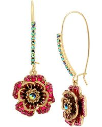 Betsey Johnson - Garden Of Excess Rose Goldtone Drop Earrings - Lyst
