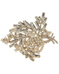 Anne Klein - Faux Pearl & Crystal Cluster Boxed Pin - Lyst