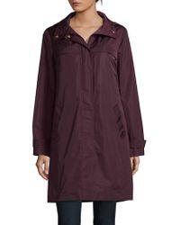 Ellen Tracy - Zip-front Hooded Raincoat - Lyst