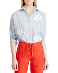 Lauren by Ralph Lauren - Lace-patch Linen Shirt - Lyst