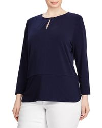Lauren by Ralph Lauren - Plus Keyhole Jersey Top - Lyst