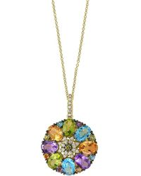 Effy - Mosaic 14k Yellow Gold And Multi-stone Pendant Necklace - Lyst