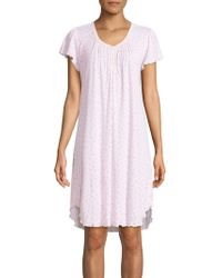 Miss Elaine - Floral Pleat-neck Nightgown - Lyst