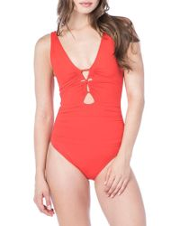 Polo Ralph Lauren - Ruched One-piece Swimsuit - Lyst