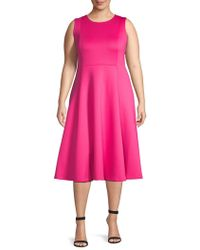 Calvin Klein - Plus Pleated Fit-&-flare Dress - Lyst