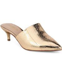 Franco Sarto - Doxie Foil Snake Print Dress Mules - Lyst