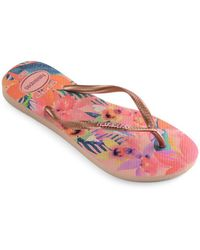 748b945e1608ea Lyst - Havaianas Peacock Paisley Slim Thematic Flip Flops in Natural