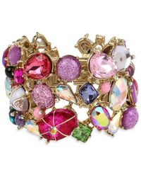 Betsey Johnson - Goldtone And Mixed Stone Cluster Bracelet - Lyst