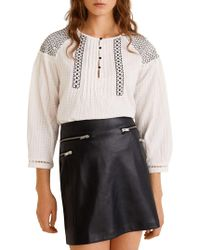 Mango Embroidered Cotton Blouse Off White