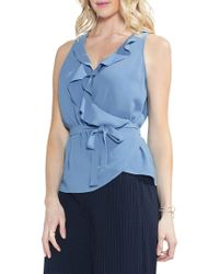 Vince Camuto - Wrap Front Ruffle Neck Blouse - Lyst