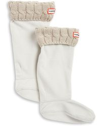 HUNTER - Cable-knit Cuff Welly Socks - Lyst