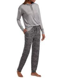 Hue - Two-piece Hazy Striped Knit Jersey Pajama Set - Lyst