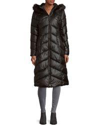 Gallery - Faux Fur Hood Puffer Coat - Lyst
