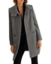Mango - Wool Funnel Neck Coat - Lyst