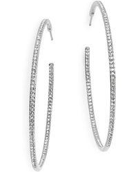 Nadri - Large Silvertone Pave Hoops - Lyst