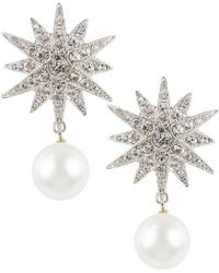 Kenneth Jay Lane Faux Pearl & Crystal Starburst Earrings - Metallic