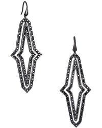 Karl Lagerfeld - Black Deco Long Concentric Swarovski Crystal Drop Earrings - Lyst