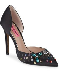 Betsey Johnson - Embellished Satin D'orsay Pumps - Lyst