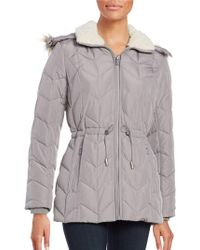 Kenneth Cole - Faux Fur Trimmed Hooded Quilted Coat - Lyst