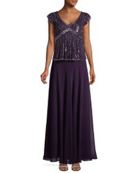 J Kara - Capsleeve Beaded Embellished Gown - Lyst