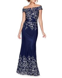 Quiz - Floral Embroidered Evening Dress - Lyst