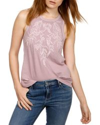 Lucky Brand - Embroidered Cotton Tank Top - Lyst