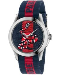 Gucci Le Marche Des Merveilles Snake Stainless Steel & Striped Nylon Strap Watch