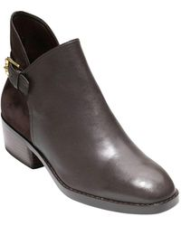Cole Haan - Althea Leather And Suede Buckle Booties - Lyst