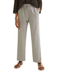 Mango - Striped Drawstring Trousers - Lyst