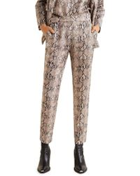 Mango - Snake-print Straight-fit Trousers - Lyst