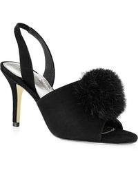 Adrianna Papell - Alecia Suede Sandals With Rabbit Fur - Lyst
