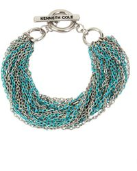 Kenneth Cole - Aqua Chain Crystal Multi-row Chain Bracelet - Lyst