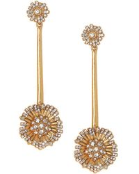 Vince Camuto - Vintage-look Goldtone & Crystal Flower Drop Earrings - Lyst