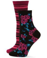 Betsey Johnson - Two-pack Roses Crew Socks - Lyst