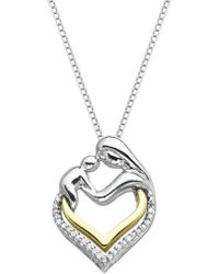 Lord & Taylor - Sterling Silver And 14k Yellow Gold Heart Pendant With Diamonds - Lyst