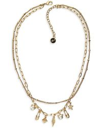 Karl Lagerfeld - Mini Rocky Layered Double Charm Necklace - Lyst