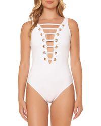 Bleu Rod Beattie - Grommeted Plunging Swimsuit - Lyst