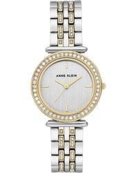 Anne Klein - Two-tone & Swarovski Crystal Bracelet Watch - Lyst
