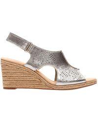 Clarks - Lalfey Rosen Metallic Leather Wedge Sandals - Lyst