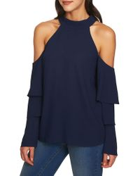 1.STATE - Cold-shoulder Ruffle-sleeve Top - Lyst