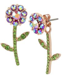Betsey Johnson - Fruit Flies Crystal Flower Front Back Earrings - Lyst