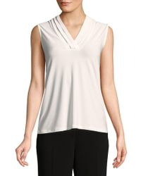 Anne Klein - Pleated V-neck Shell Top - Lyst