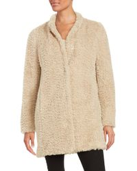 Kenneth Cole - Faux Fur Button-front Coat - Lyst