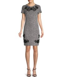 Karl Lagerfeld - Short-sleeve Floral Embroidered Tweed Dress - Lyst