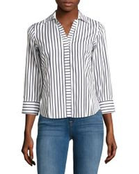 Foxcroft - Petite Striped Cotton Button-down Shirt - Lyst